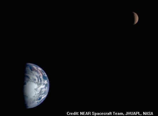 Le couple Terre Lune vue par la sonde Near